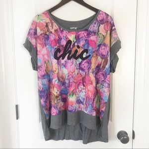 "Apt 9 ""Chic"" Floral Print Grey Short Sleeve Top"